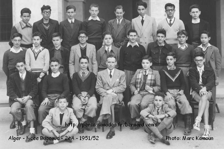 Classe de Seconde A, 1951-1952, photo et noms: Marc Kamoun